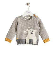 Super cool baby clothes for autumn and winter. This polar bear intarsia Husky jumper is a beautiful knitted jumper by The Bonnie Mob, now at Crab and The Fox.