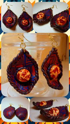 24$ Earrings Boho ethnic Blue red ethnic earrings boho style, unusual design hippie ripple pattern holographic exclusive  Lightweight bohochic bohemian polymer clay beautiful fashion handmade diy buy jewelry accessories jewellery hippies etsy gifts for her bijoux bohemia jewels