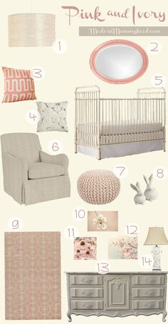 Pink and Ivory Nursery Design - non-toxic, baby-safe Lullaby Paints in Straw Sack would be a nice wall color for this nursery look!