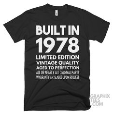 Impressive tshirt Built in 1978 Limited Edition Aged To Perfection Birthday Shirt