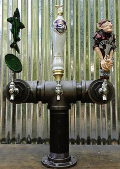 3 Tap Beer Tower Black Iron Pipe by TappedBeer on Etsy, $435.00