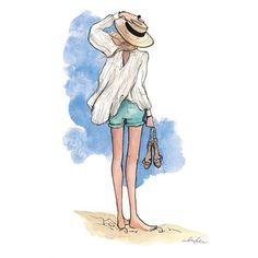 linen top, aqua shorts, straw hat