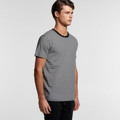 Mens Bowery Stripe Tee - Black/White Stripe Blank T Shirts, Black White Stripes, Striped Tee, Hoodies, Sweatshirts, Shorts, Tees, Mens Tops, Jackets