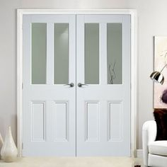 The traditional Nostalgia Malton white primed unglazed door pair, simple styling at its very best, glass is not included. Interior Design Colleges, Commercial Interior Design, Commercial Interiors, Interior Design Services, Internal French Doors White, Internal Double Doors, White Doors, Best Interior, Interior And Exterior