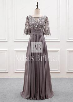 [112.99] Wonderful Tulle & Chiffon Bateau Neckline A-line Mother Of The Bride Dress With Sequin Lace Appliques - dressilyme.com