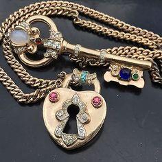 Vintage Coro Craft Sterling Silver Lock & Key Chatelaine Brooch 59 Grams RARE