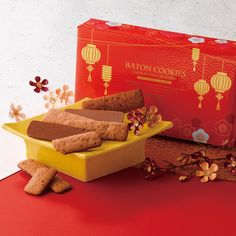 """Wishing luck and prosperity to someone for the upcoming Lunar New Year can be sweet with a box of our Baton Cookies """"Hazel Cacao"""" (New Year Design). Royce Chocolate, Chocolate Wafers, Chocolate Coating, Chocolate Covered Potato Chips, Chocolate Covered Almonds, Lunar New Year 2020, Happy Lunar New Year, Japanese Chocolate, New Year Designs"""