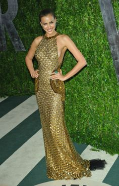 Super Model and Abed Mahfouz muse Irina Shayk arrived at the 2012 Vanity Fair Oscar Party at Sunset Tower held on February 26, 2012 in West Hollywood, California in a breath-taking metallic Abed Mahfouz Fall/Winter 2011-2012 Couture gown.