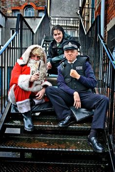 Edgar Wright, Simon Pegg, and Peter Jackson as Santa (behind-the-scenes on HOT FUZZ) Simon Pegg, Zombie Walk, Zombie Girl, Deathly Hallows Part 1, Men Dress Up, The Royal Tenenbaums, Avengers 2012, Jackson, Sherlock John