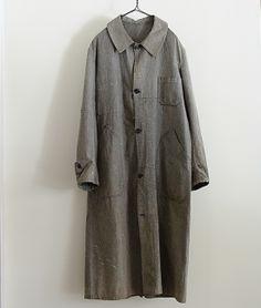 LILY1ST VINTAGE 1920-1930'S FRENCH DAMAGED SALT&PEPPER DUSTER COAT http://floraison.shop-pro.jp/?pid=76022868