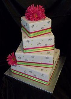 Modern Spring Summer Green Pink Silver Square Wedding Cake
