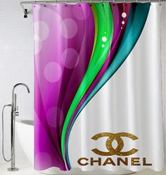 Coco Chanel Logo Gold Chanel Shower Curtain