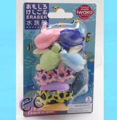 #erasercrazy #Iwako SEA LIFE Set Turtle Manta Whale Shark Coral