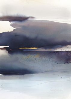 """yama-bato: Sabrina Garrasi """"Over the Storm""""Watercolor, ink, Pigment, Gouache and Gold Leaf 22K on Fine Art Cotton Paper.Size: 42,13 in x 30,31 in (107 cm x 77 cm)"""