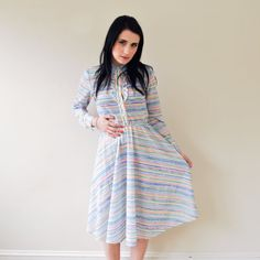 girly vintage 70s pastel striped dress by RockAndRollVintage, $40.00
