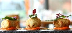 Ricotta and basil dumplings with butternut squash puree and crispy sage. Squash Puree, Vegan Restaurants, Lunches And Dinners, Dumplings, Butternut Squash, Ricotta, Starters, Basil, Sage