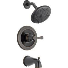 Delta Porter Single-Handle Tub and Shower Faucet in Oil Rubbed Bronze (Valve Included) - The Home Depot Bathroom Shower Faucets, Roman Tub Faucets, Bronze Bathroom, Bathroom Fixtures, Shower Tub, Master Bathroom, Bathroom Ideas, Downstairs Bathroom, Plumbing Fixtures