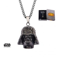 Black Stainless Steel Sparkling Darth Vader Pendant Necklace