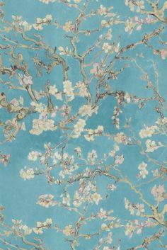 Tapete Cherry Blossom col.16 | FT50942-1 | Landhaus Tapeten in den Farben grün-weiß-rosa | Grundton türkis