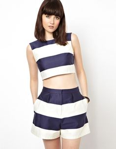I Want! ASOS Shell Top in Wide Stripe