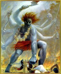 Virbhadra, born from Shiva's locks beheads Daksha.