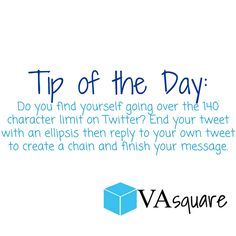 If you use Twitter do not sacrifice good grammar to fit everything in one post! Use the ellipsis and reply feature to finish your message. Maintaining good grammar and complete sentences shows your audience that you are a professional business.  #twitter #twittertips #socialmediamarketing #business #vasquare #tipoftheday #professional #tweet #grammar #media #marketing #onlinebusiness