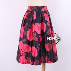 Retro Vintage Roses Floral Flower Printed Skirt  Only $19.99 => Save up to 60% and Free Shipping => Order Now!  #Skirt outfits #Skirt steak #Skirt pattern #Skirt diy #skater Skirt #midi Skirt #tulle Skirt #maxi Skirt #pencil Skirt