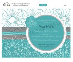 White Flowers   Bridal Shower Collection  by ChiquisDesignStudio