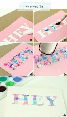 Water colour lettering using alphabet die cutters, water colour paints, card and post it notes°° - Amazing Diy Gifts Crafts For Teens, Fun Crafts, Diy And Crafts, Arts And Crafts, Paper Crafts, Easy Diys For Teens Girls, Craft Ideas For Teen Girls, Crafts Cheap, Amazing Crafts