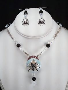 Sparking Spider Handcrafted Necklace and Earring Set