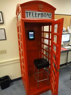 I have often coveted British phone booths, but this one is special.  It can Skype.