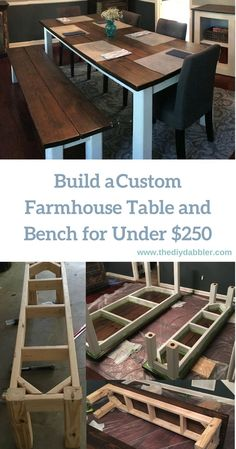17 Ideas For Farmhouse Furniture Diy Building Kitchen Table Bench, Diy Dining Table, Dining Nook, Patio Table, Dining Bench, Farmhouse Table With Bench, Farmhouse Kitchen Tables, Farmhouse Windows, French Farmhouse