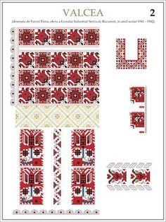 Semne Cusute: ie din VALCEA (2) Modele de ii Romanesti din caietul elevei Furcoi Elena, de la Liceul Industrial Sericicol Bucuresti, care a desenat aceste planse in clasa a VIII-a, anul scolar 1941 - 1942 Folk Embroidery, Embroidery Patterns, Cross Stitch Patterns, Palestinian Embroidery, Traditional Outfits, Cross Stitching, Beading Patterns, Pixel Art, Needlework