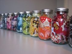 Great idea for scraps - would be great when you get extra ribbon from gifts to save for scrapbooking or other projects.