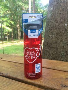 Heart Shaped Stethescope Nurse Monogrammed Bottle