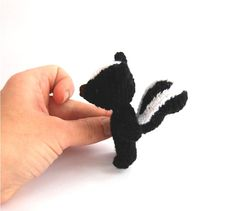 miniature skunk, crochet woodland animal, black white #skunk, #tiny world stuff, crochet from crochAndi, #amigurumi skunk, miniature skunk doll