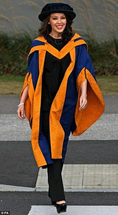 It's Doctor Minogue! Kylie looked dapper in her gown and tam as she arrived at Anglia Ruskin University for the graduation ceremony