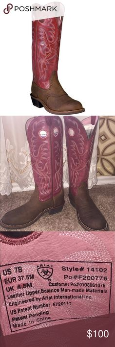 """ARIAT women's heritage buckaroo western boots Women's heritage buckaroo western boots/working boots. Like new condition. Really comfortable, very well made, high quality. Durability at its best! No box. I wear 7.5 shoe size and this fits me just fine.  14"""" shaft height  ATS technology  Full-grain leather foot and shaft  Leather lining  Six-row stitch pattern Duratread outsole  U-toe Ariat Shoes"""