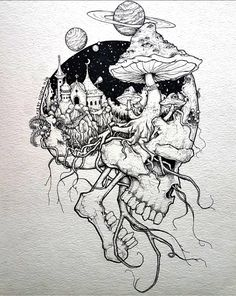Pin by rock neptune on to do çizimler, çizim fikirleri, sana Tattoo Design Drawings, Art Drawings Sketches, Cool Drawings, Unique Drawings, Ink Illustrations, Sketch Drawing, Skull Sketch, Sketch Ink, Illustration Artists
