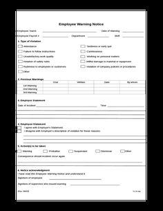 Adams Manufacturing Adams Employee Warning Notice Form  X