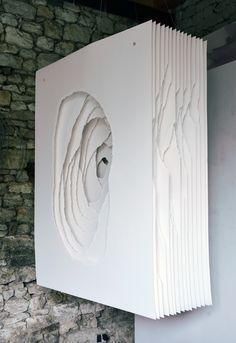 Angela Glajcar: Terbloc (2014-006), 2014, Paper (400 g), Torn, Mounting Made of Metal, 162 x 122 x 50 cm
