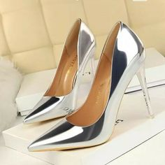 0108fb03729 Silver Pointed Toe Heels Size 7.5  fashion  clothing  shoes  accessories   womensshoes