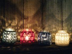Crocheted Lantern Candle holder Tea candle Glass jar by Chompa