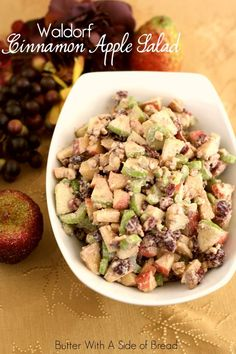 Waldorf Cinnamon Apple Salad~ light, sweet and perfect accompaniment to all the classic Thanksgiving dishes #recipe #salad #thanksgiving Butter With A Side of Bread