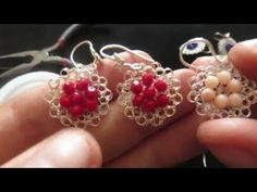 Aretes tejidos con cristales