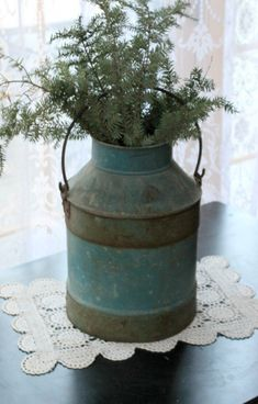 This listing is for this antique metal milk jug. This milk can however will not hold water as there are some slight cracks in the bottom. Antique Milk Can, Antique Metal, Metal Milk Jug, Old Milk Cans, Terrace Decor, Rustic Art, Christmas Fun, Xmas, Porch Decorating