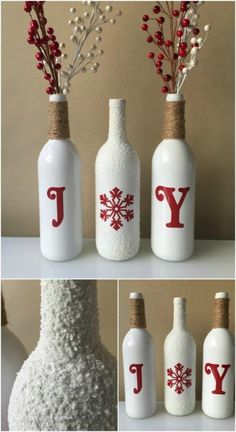 20 Festively Easy Wine Bottle Crafts For Holiday Home Decorating - DIY & Crafts