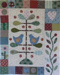 Risultati immagini per gail pan patterns Colchas Country, Wool Quilts, Applique Quilts, Patchwork Quilting, Bird Quilt, Tree Quilt, Small Quilts, Mini Quilts, Bluebirds
