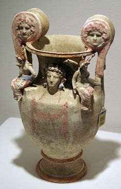 Fantastic details on volute Krater. - Canosan polychrome pottery oinochoe, Apulia, circa early 3rd Century B.C., 22 7/8 inches high, left; Lot 128, Canosan polychrome pottery volute-krater, Apulia, circa early 3rd Century B.C.