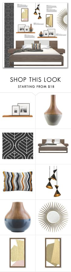 """""""Mid-Century Modern Bedroom"""" by kellylynne68 ❤ liked on Polyvore featuring interior, interiors, interior design, home, home decor, interior decorating, WALL, Surya, Modloft and Global Views"""